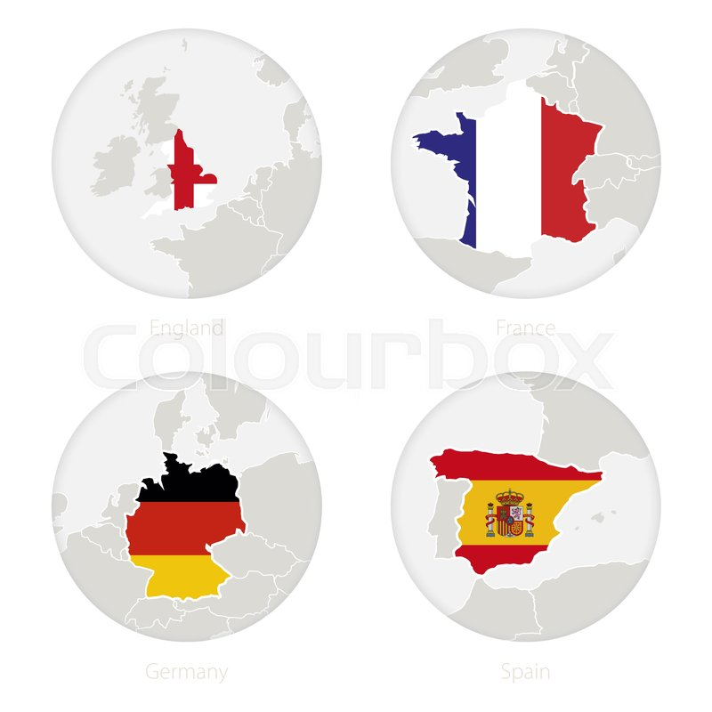 Map Of England France And Spain.England France Germany Spain Map Stock Vector Colourbox