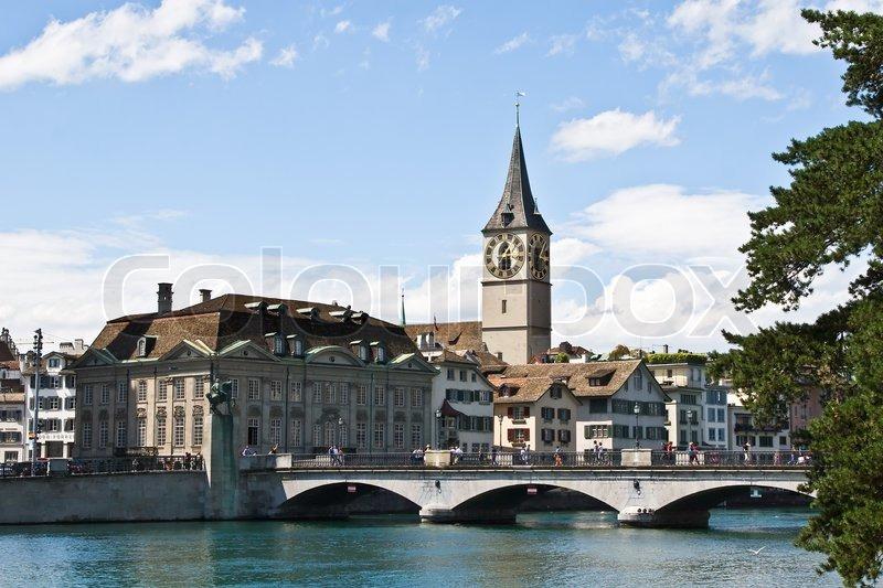 Famous Stpeter S Church In Zurich Switzerland Stock