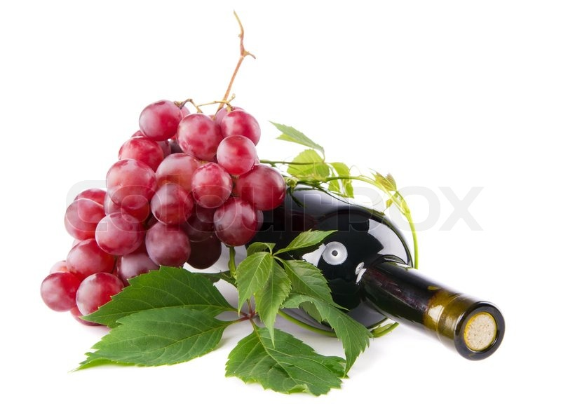 bottle of red wine with grapes white background stock photo bottle red wine