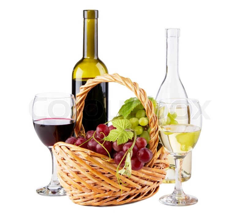 Bottles of red and white wine with grapes white for Red glass wine bottles suppliers