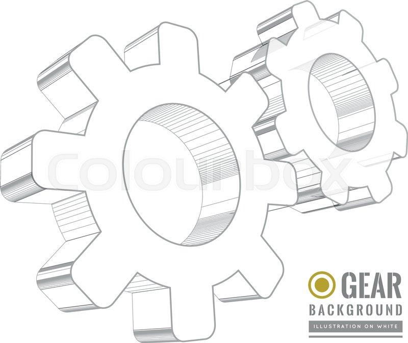 Gear Schematic Vector Illustration On