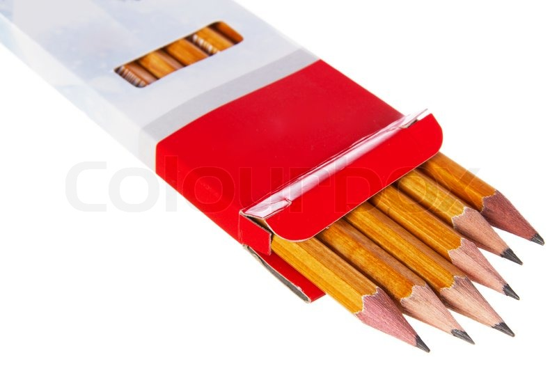 Box of pencils isolated on white background | Stock Photo | Colourbox