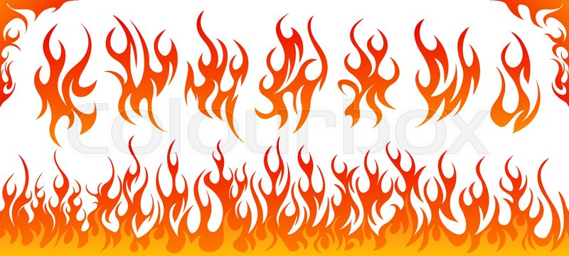 fire flames vector set on white background stock vector colourbox rh colourbox com flame vector images flame vector images