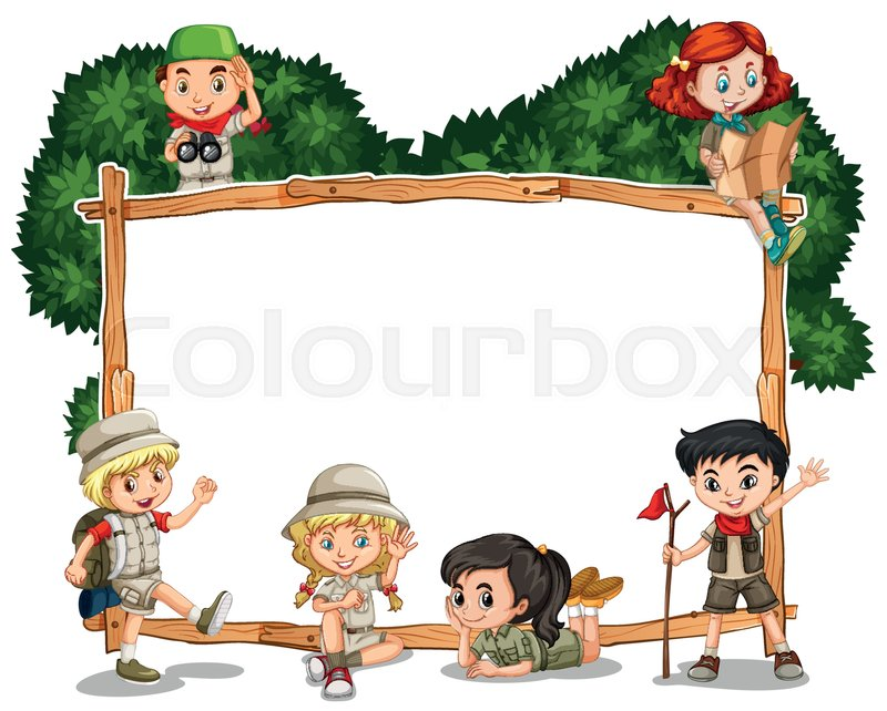 Frame template with kids in safari outfit illustration | Stock ...