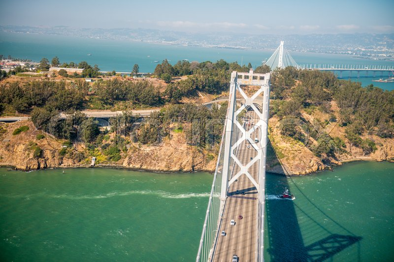 Overhead view of Bay Bridge in San Francisco from helicopter, CA, stock photo