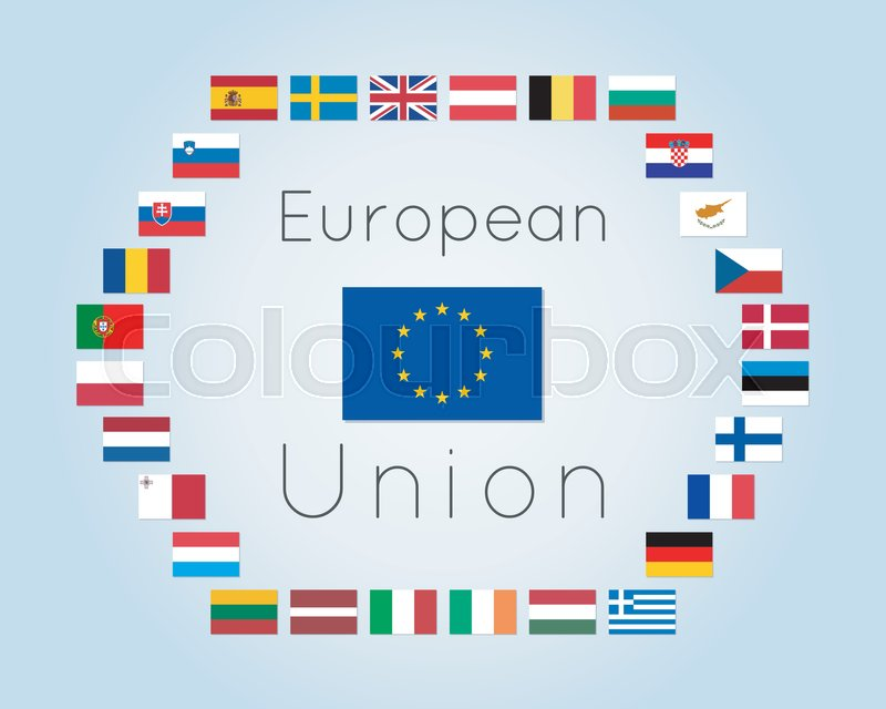 Vector Illustration Of European Union Countries Flags 28 States Of