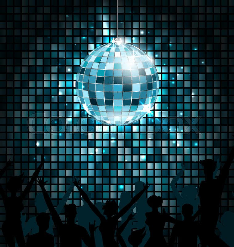 Disco Ball With Silhouettes Of People Dance Party Glowing Lights Background