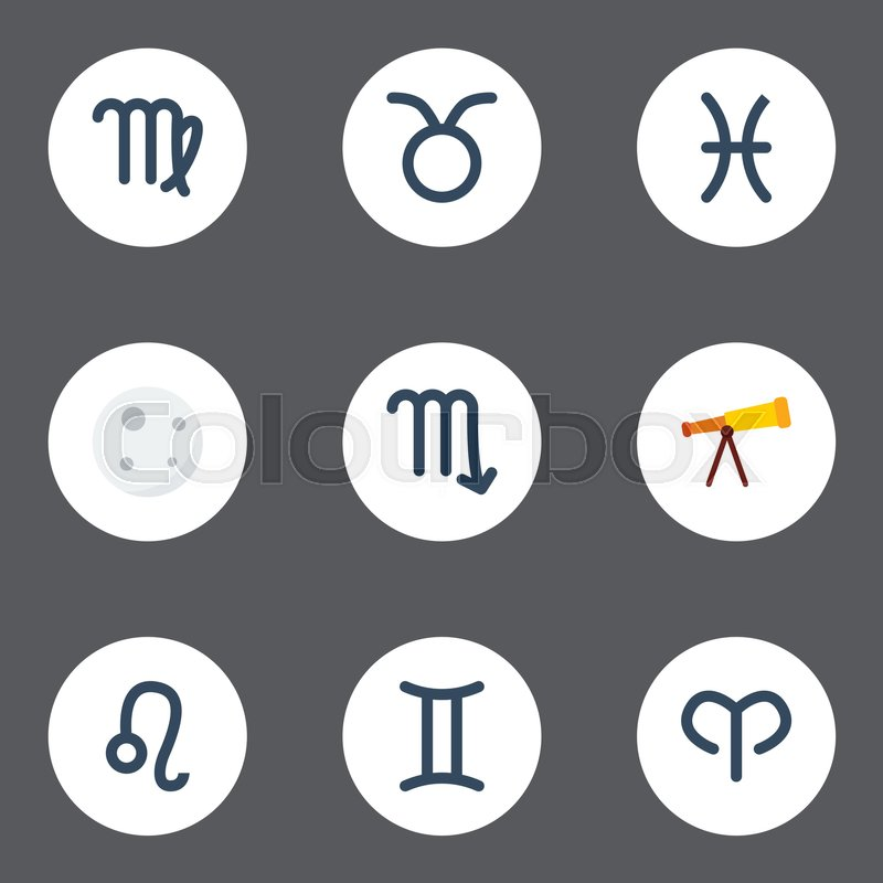 Flat Icons Zodiac Sign Fishes Lunar And Other Vector Elements Set
