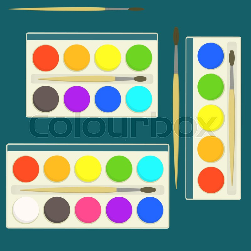 Different Colors Of Paint: Set Of Bright Flat Vector Kids Watercolor Paints In Box