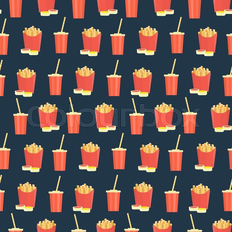 Seamless Pattern With Cola And French Fries On Dark Background Cute