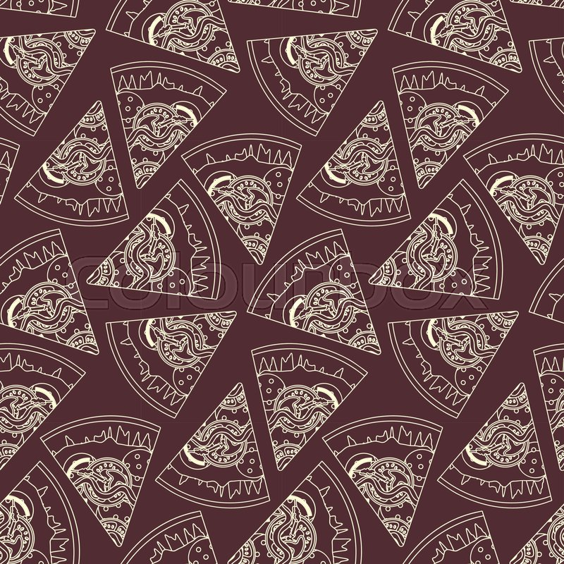 Outline Sliced Italian Pizza On Bardic Background Seamless Pattern Nice Fast Food Texture For Textile Wallpaper Cover Wrapping Paper