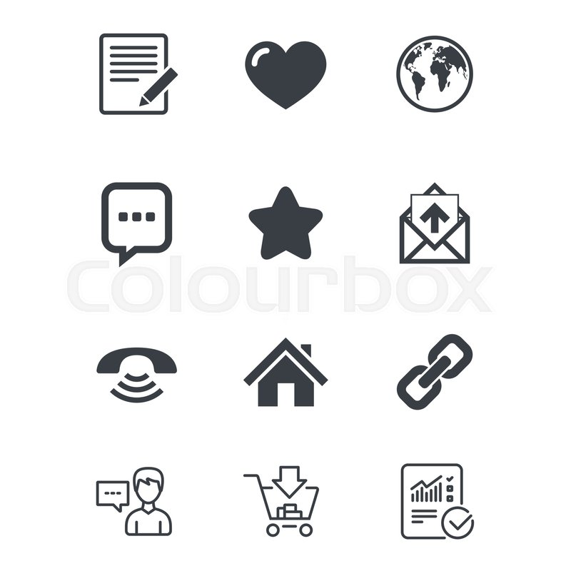 Mail Contact Icons Favorite Like And Internet Signs E Mail Chat