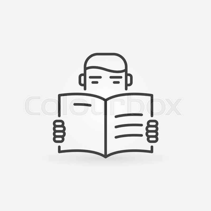 Reading Vector Icon Man Reading A Book Concept Symbol In Thin Line