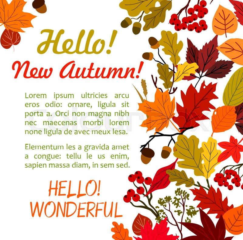 hello autumn poster with fall leaf border autumn season leaves