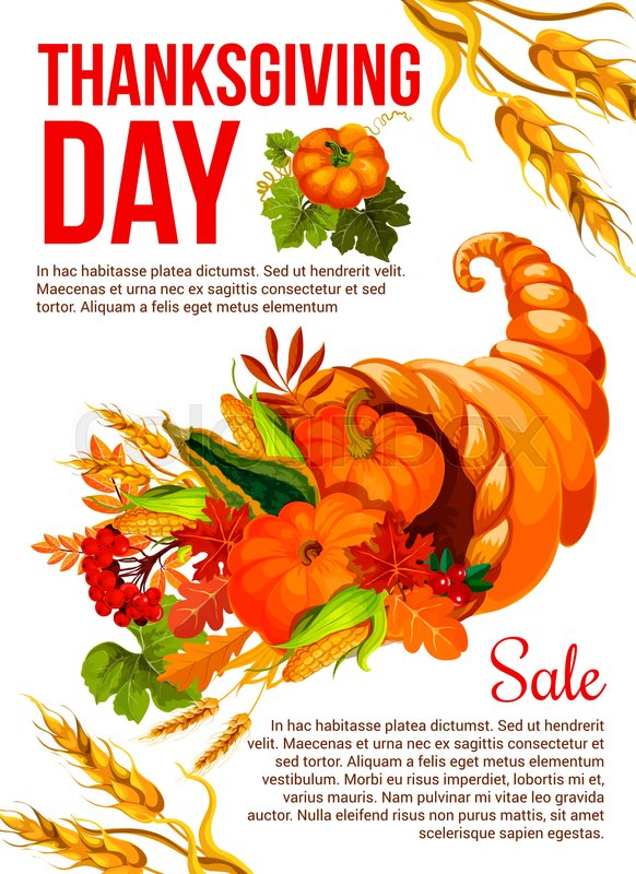 Thanksgiving Day holiday sale banner template. Autumn harvest ...