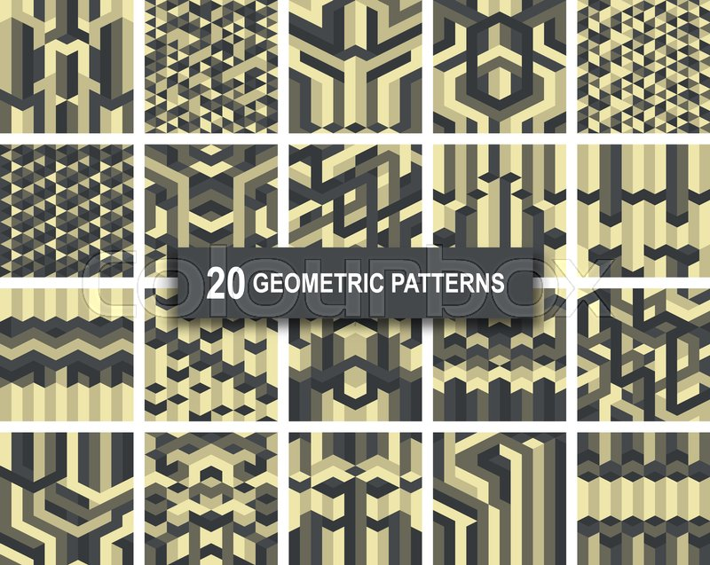 set of twenty gothic gold color geometric patterns abstract retro
