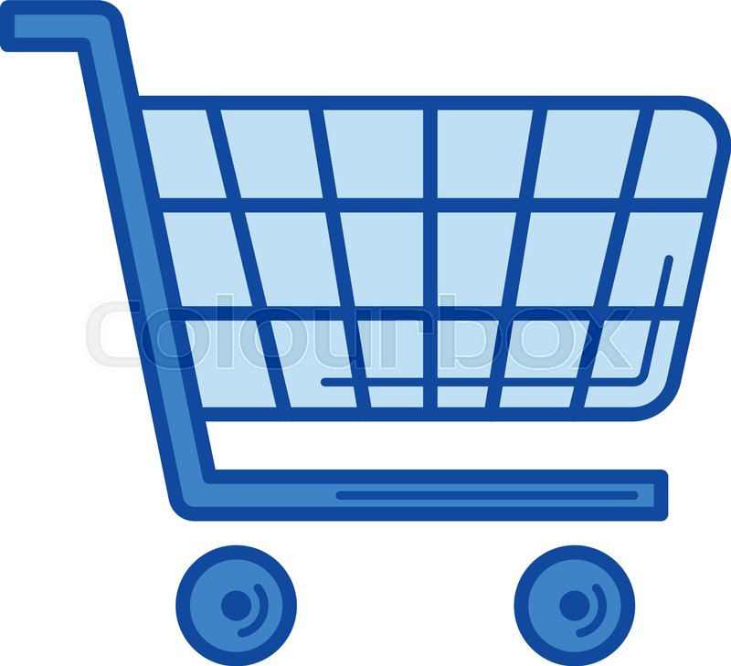 shopping cart vector line icon isolated on white background rh colourbox com shopping cart vector download shopping cart vector logo