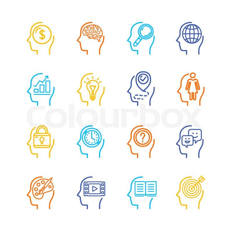 Symbol Human Mind Color Thin Line Icon Set Symbol Of Inspiration
