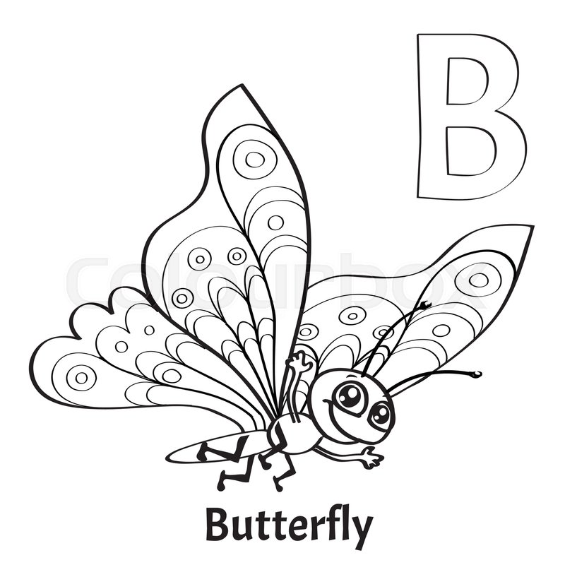Vector Alphabet Letter B For Children Education With Funny Cartoon Butterfly Isolated Learn To Read Coloring Page