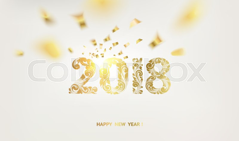 happy new year card over gray background with golden confetti happy new year 2018 holiday card template for your design vector illustration