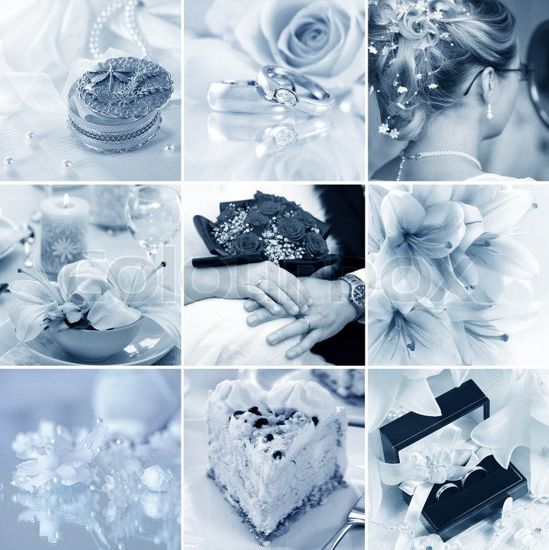 Schone Collage Von Neun Hochzeit Motive Stockfoto Colourbox