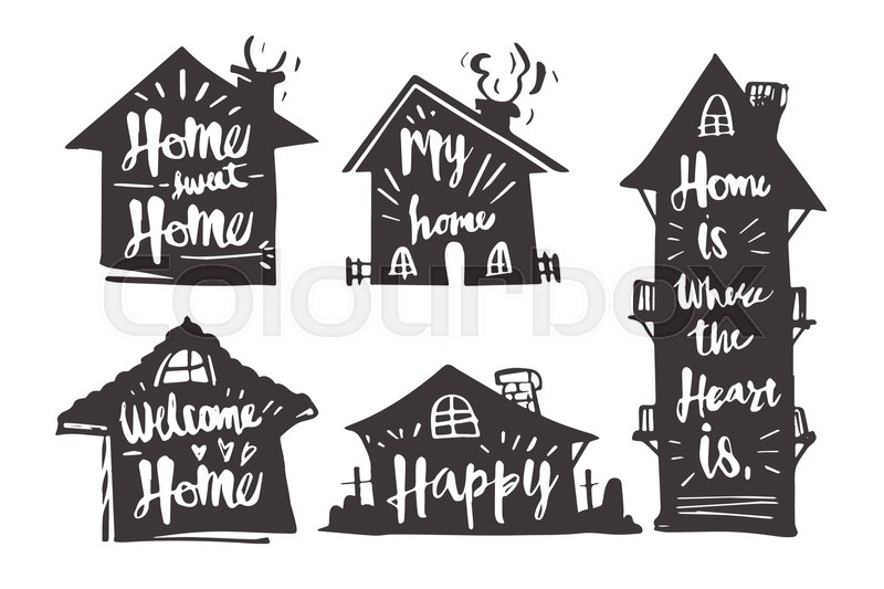 hand drawn caligraphy in silhouette house home sweet home my home