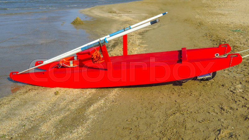 Stock image of 'Rescue boat at a beach in Rimini, Italy'