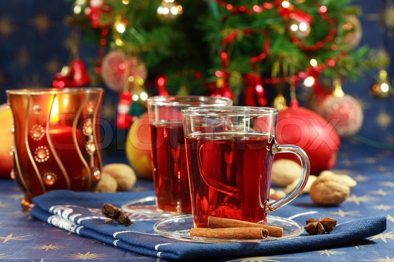 Hot drink for Christmas with delicious cookies | Stock Photo ...