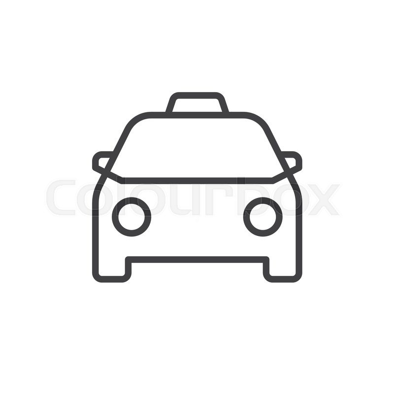 Taxi line icon, outline vector sign, linear style pictogram isolated ...