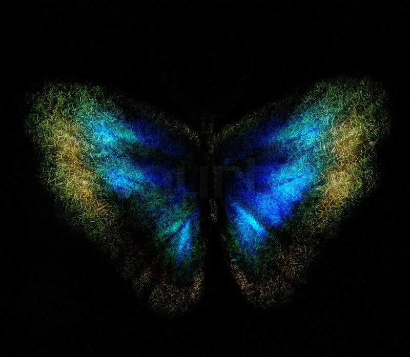 Blue Abstract Butterfly On A Black Background