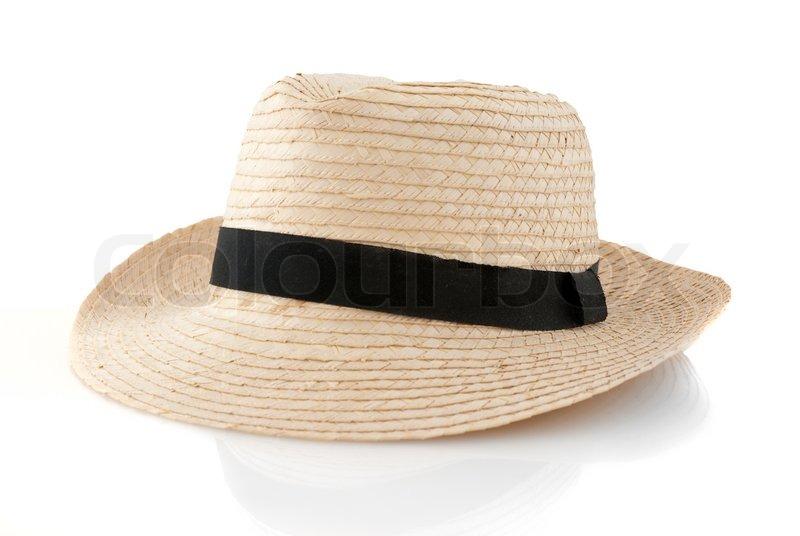 Straw hat withe black ribbon isolated ...  c63e5e1b237