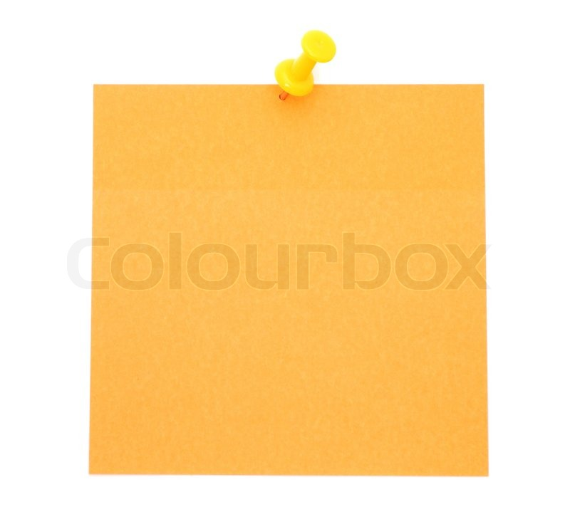 Blank orange post-it note | Stock Photo | Colourbox