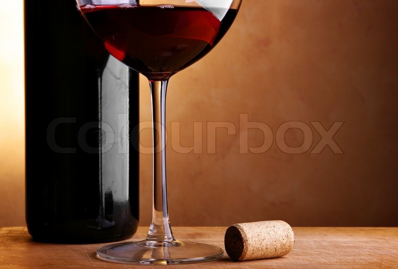 Still Life With Wine Bottle Cork And Glass Stock Photo