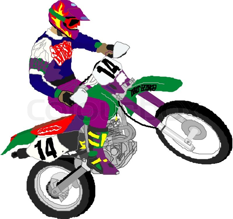 Motocross, vector, motor | Vector | Colourbox