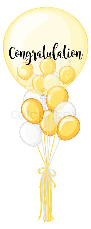 yellow and white balloon with word congratulation illustration