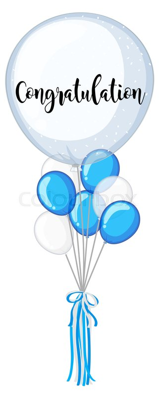 blue and white balloons with word congratulation illustration