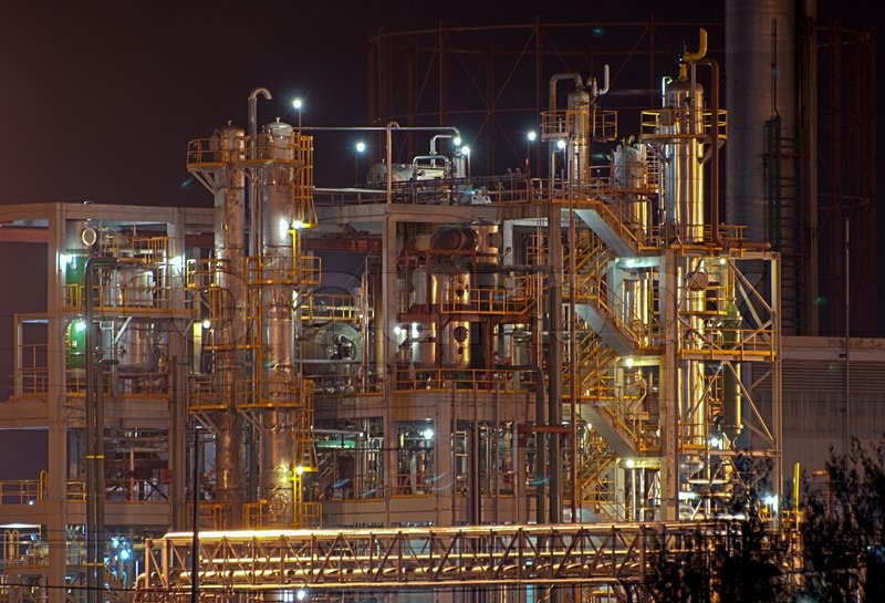 Night view of a industrial park, stock photo