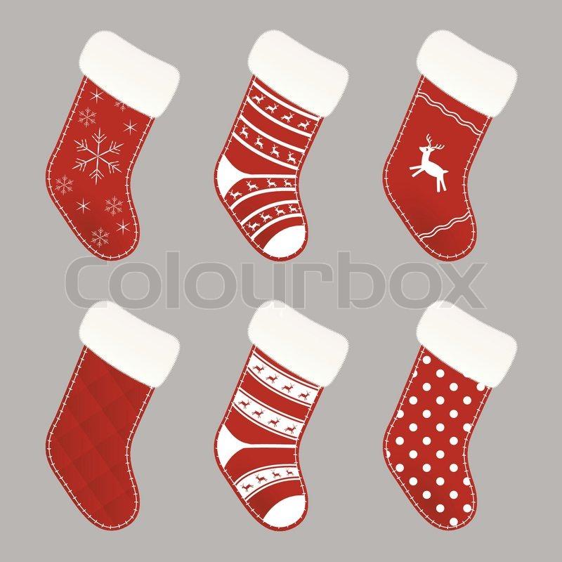 Set von roten und weißen Weihnachten Socken | Vektorgrafik | Colourbox