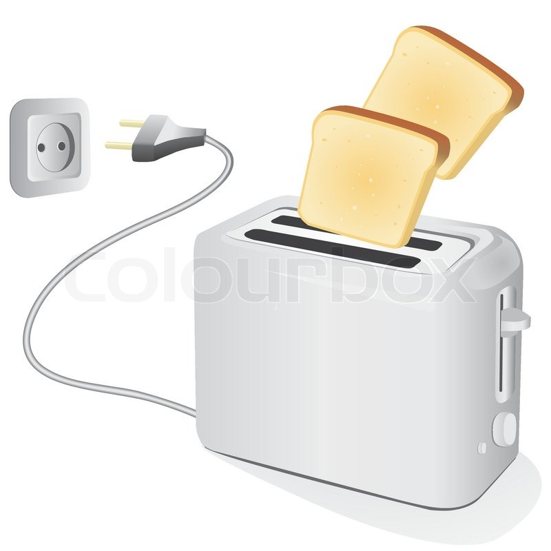 Toaster Plugged In ~ Plastic electric toaster with toast vector illustration