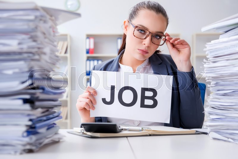 Businesswoman not coping with workload and resigning, stock photo