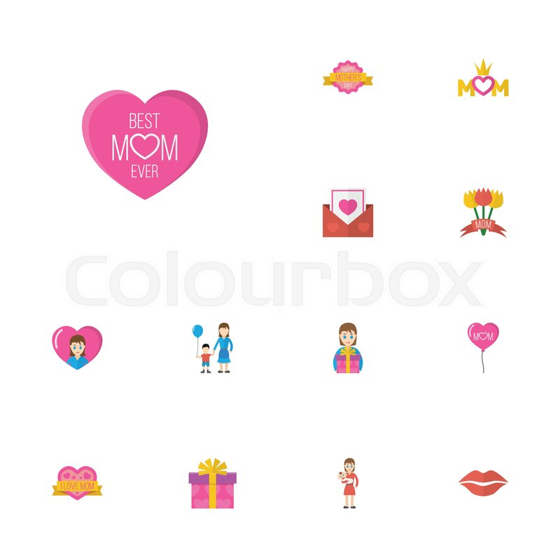Happy Mothers Day Flat Icon Layout Design With Kiss Sticker And