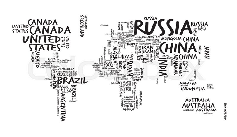 World Map with Countries name Text or Typography, Sketch Hand Drawn ...