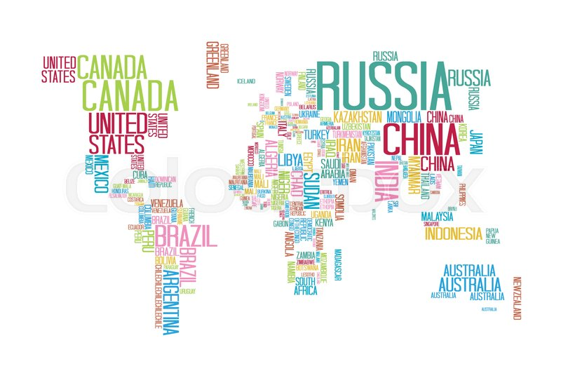 World Map With Country Names World Map with Countries name Text or Typography with Colorful  World Map With Country Names