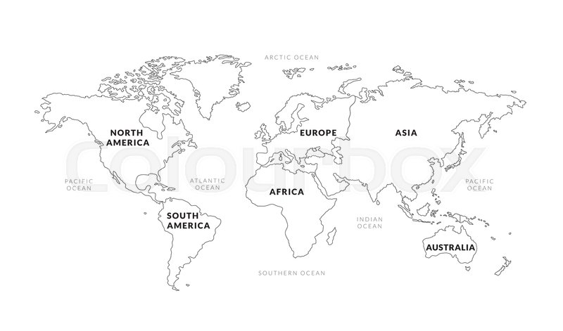 World map continents outline stock vector colourbox gumiabroncs Gallery