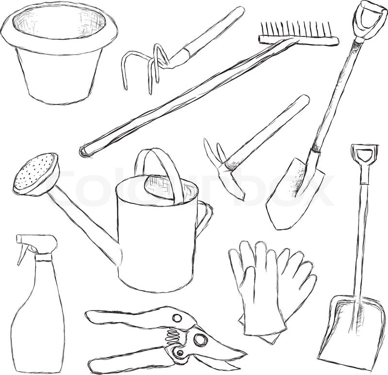 Garden tools stock vector colourbox for Gardening tools drawing