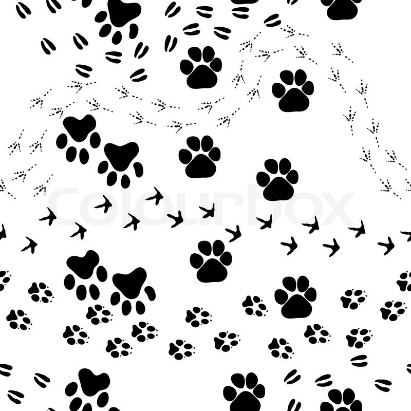Animal Footprint Seamless Vector PatternFor Easy Making Pattern Just Drag All Group Into Swatches Bar And Use It For Filling Any Contours