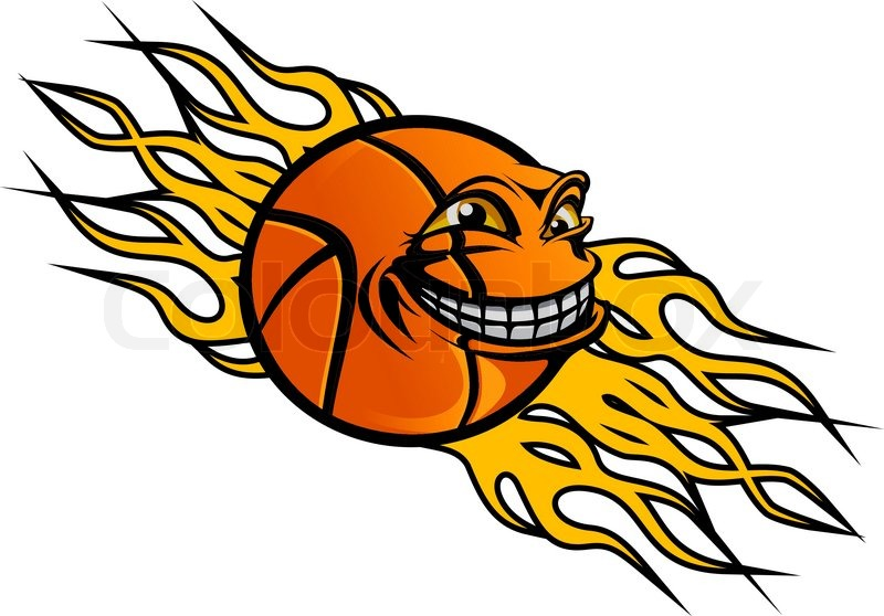 flying funny basketball ball with flames for sports tattoo