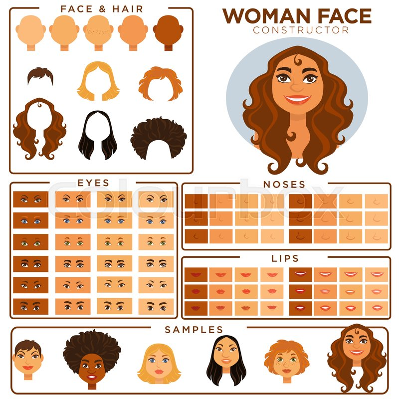 woman face avatar constructor templates of female skin haircut and