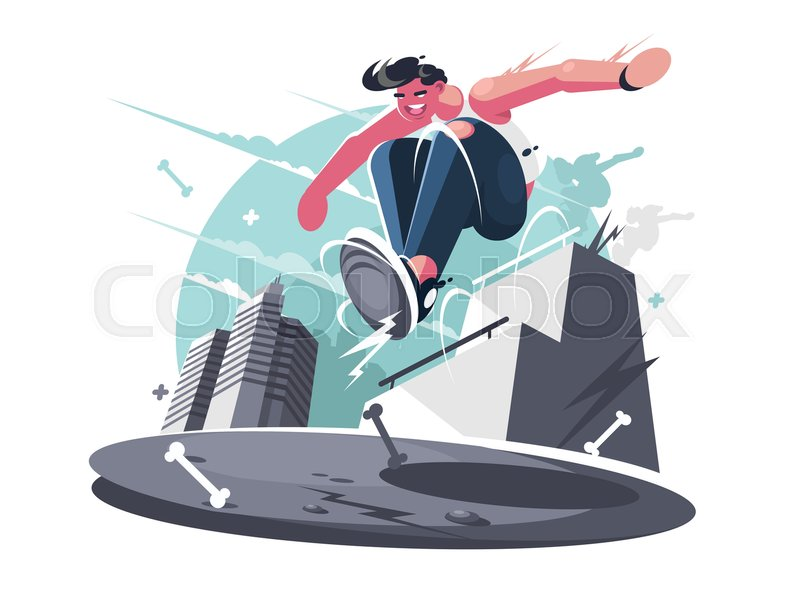 Nimble guy street racer. City sports parkour for young people. Vector illustration, vector