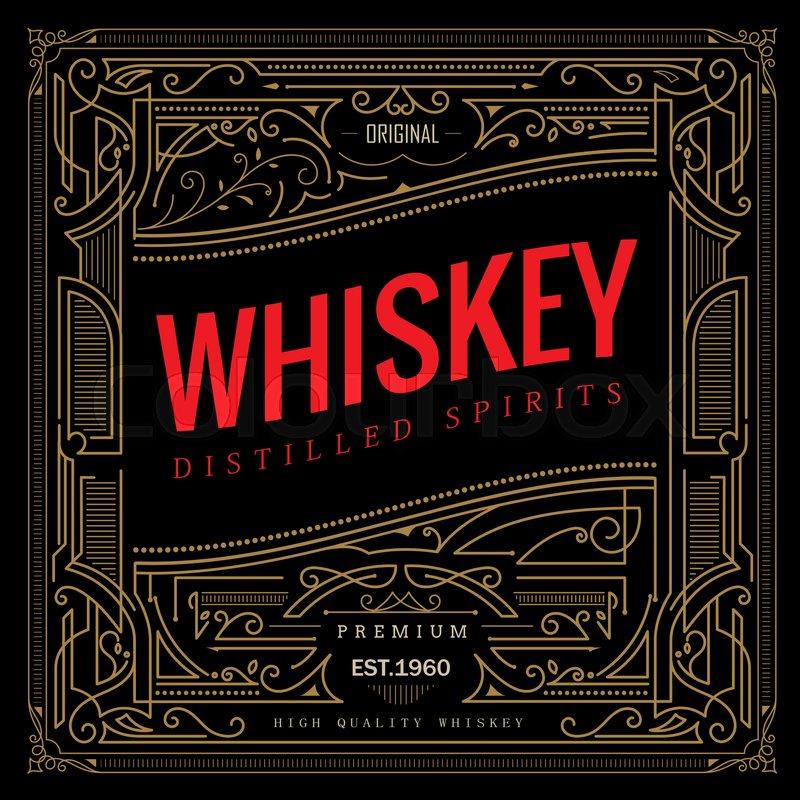 antique frame whiskey label vintage border retro vector illustration